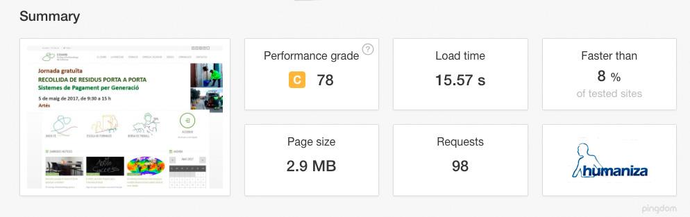 web optimizada benchmark wordpress